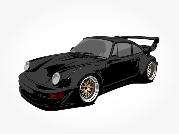 Realistische kühle schwarze autodetailkunst Premium Vektoren