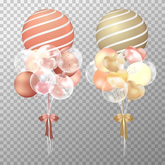 Realistische kupferne und goldene ballons Premium Vektoren
