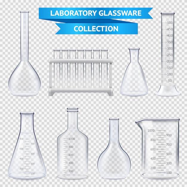 Realistische laborglaswarenansammlung Kostenlosen Vektoren