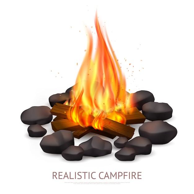 Realistische lagerfeuer-hintergrundzusammensetzung Kostenlosen Vektoren
