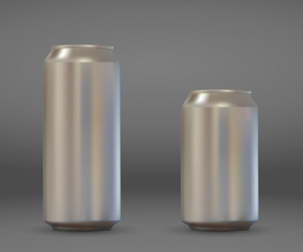 Realistische leere aluminiumdose 3d. metallisches bier- oder soda-packungsmodell. Premium Vektoren