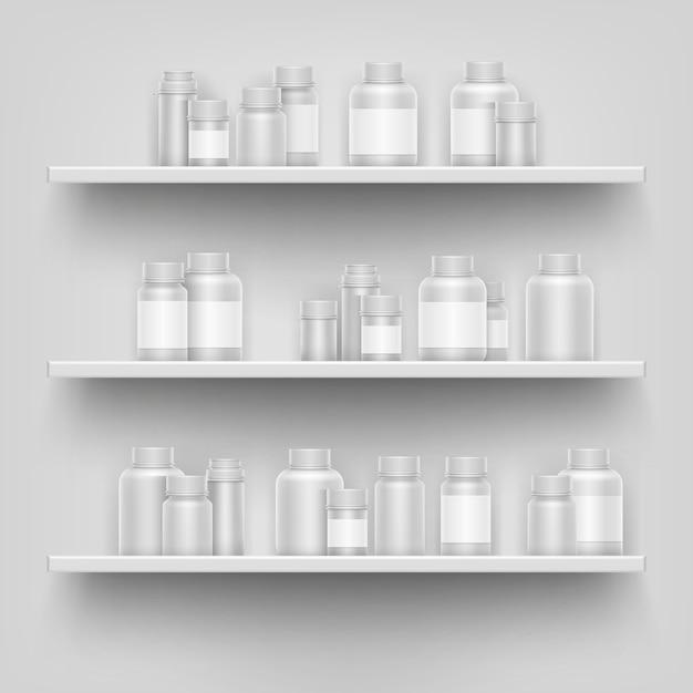 Realistische leere flasche der weißen medizin 3d für pillen auf apothekenladenregalanzeige Premium Vektoren
