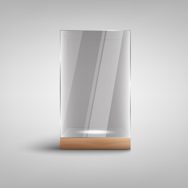 Realistische leere glasvitrine ich mit leerem beleuchtetem raum nach innen Premium Vektoren