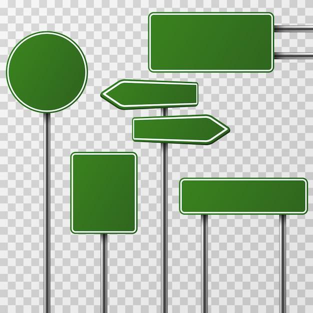 Realistische leere grüne straße und verkehrsschilder lokalisierten satz Premium Vektoren