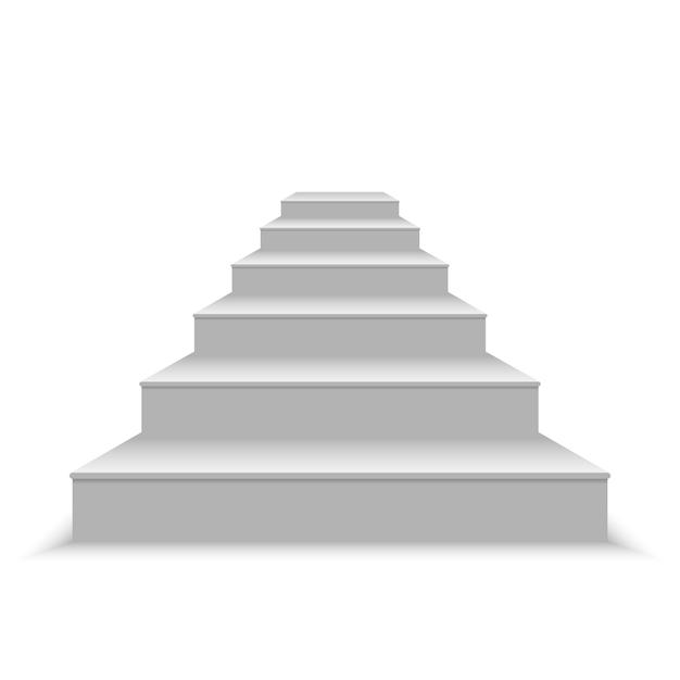 Realistische leere weiße treppe. vektor-illustration Premium Vektoren