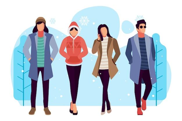 Realistische leute, die winterkleidung tragen Kostenlosen Vektoren