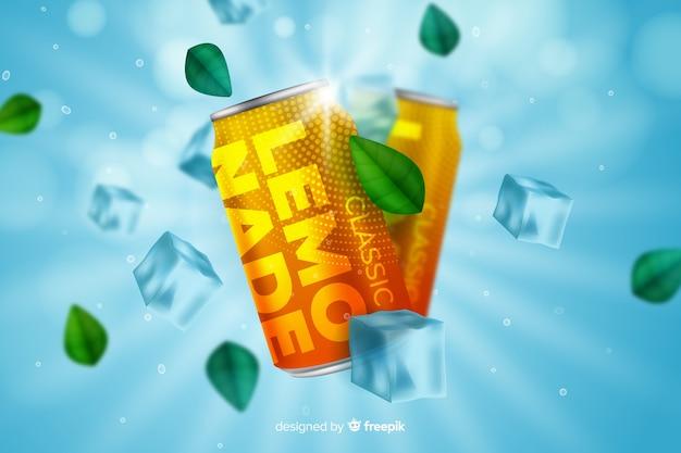 Realistische limonadenwerbung Kostenlosen Vektoren
