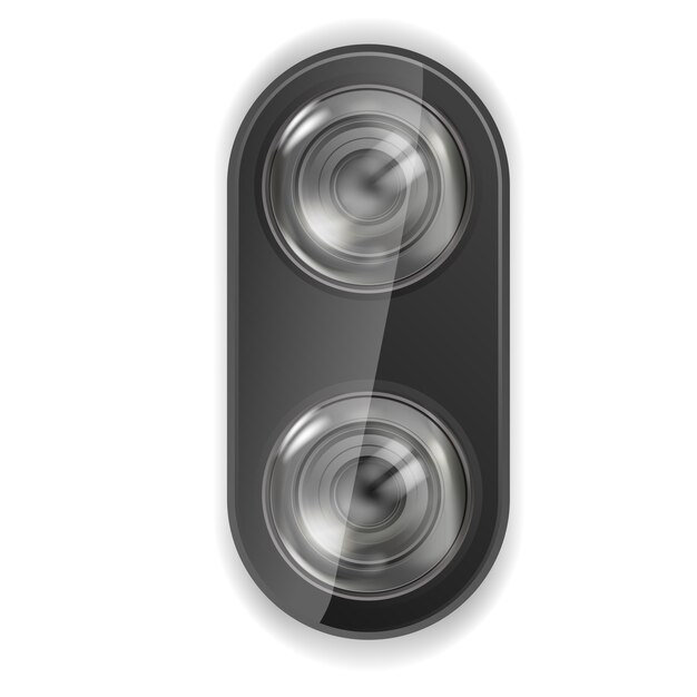 Realistische linsenkamera. smartphone-linsenkamera Premium Vektoren
