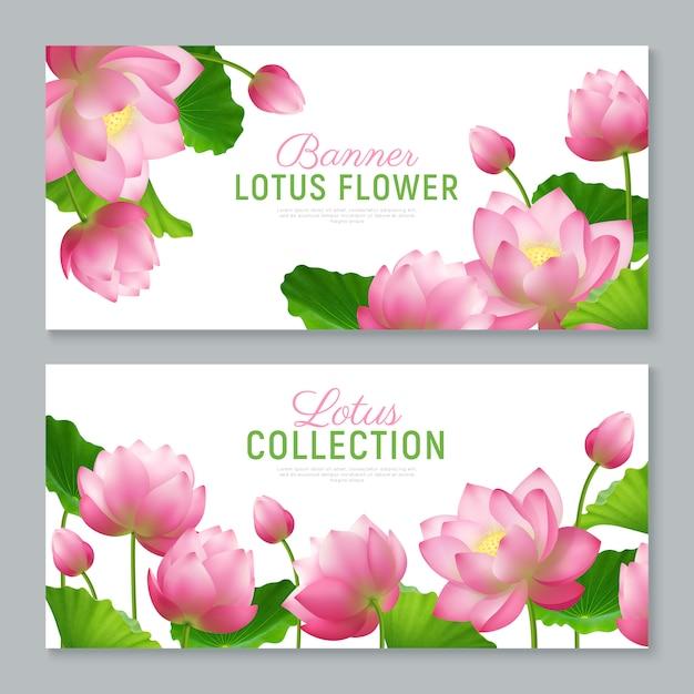 Realistische lotus-banner Kostenlosen Vektoren