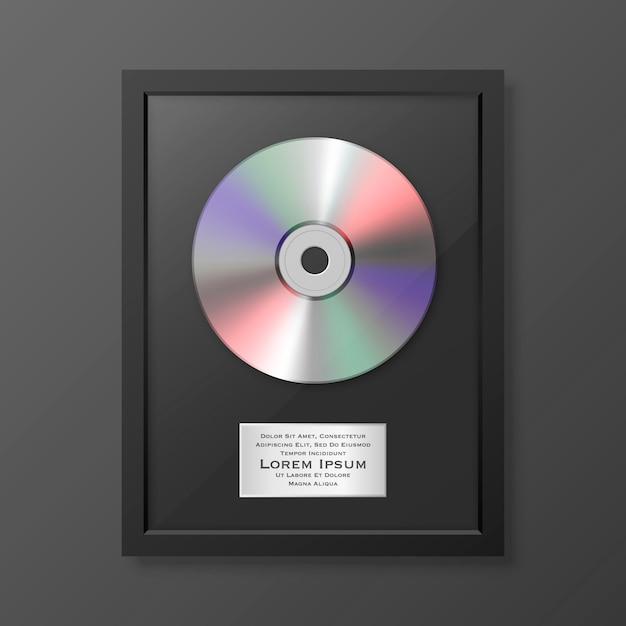 Realistische lp und etikett in der glänzenden schwarzen rahmensymbol-nahaufnahme isoliert. single album disc award. designvorlage. Premium Vektoren