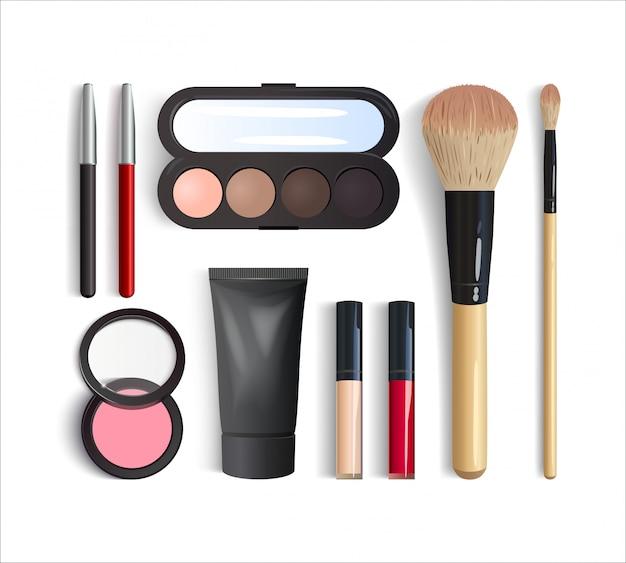 Realistische make-up-produkte eingestellt. 3d-lidschatten-palette, lippenstift, rouge, foundation, lippen- und augenstifte, pinsel. draufsicht des dekorativen kosmetischen produkts lokalisiert auf weißem hintergrund. illustration Premium Vektoren