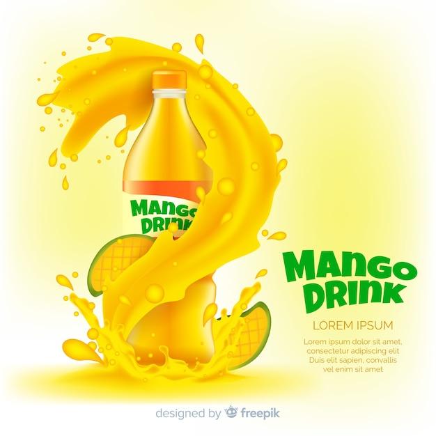Realistische mango-saft-werbung Premium Vektoren