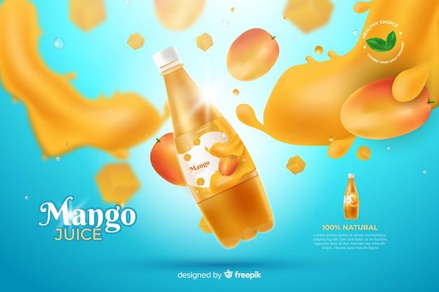 Realistische mango-saft-werbung Kostenlosen Vektoren