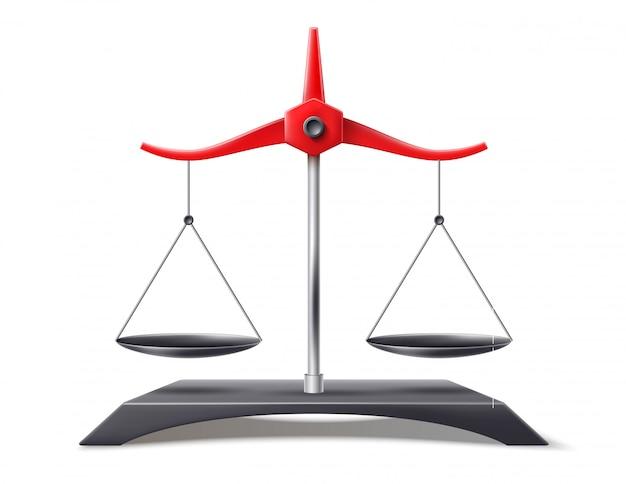 Realistische maßstäbe der gerechtigkeit, gleichgewichtssymbol Premium Vektoren