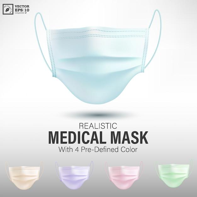 Realistische medizinische maske mit vordefinierter farbe Premium Vektoren