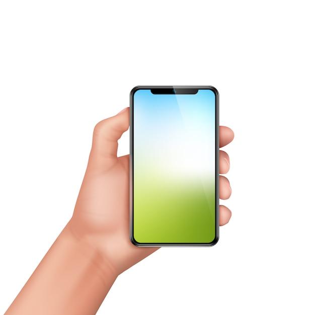 Realistische menschliche hand 3d, die smartphone hält. vorlage, mock-up für mobile app oder werbung. Kostenlosen Vektoren