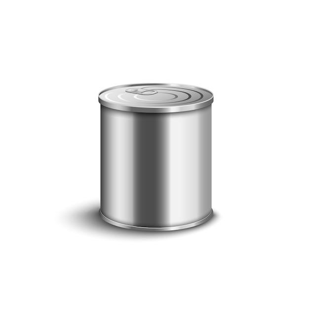 Realistische metalldose - mittelgroßer kurzer behälter mit glänzender silberner oberfläche und geschlossenem deckel für lebensmittelkonserven. Premium Vektoren