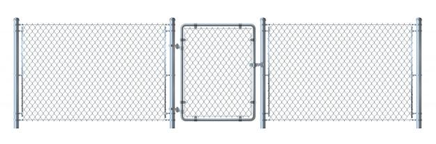 Realistische metalldrahtzaun- und -torausführliche illustration lokalisiert auf weißem hintergrund. Premium Vektoren