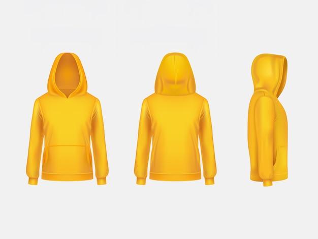 Realistische modellschablone des gelben hoodiesweatshirts 3d auf weißem hintergrund. Kostenlosen Vektoren
