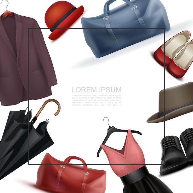 Realistische moderne garderobenelementvorlage mit platz für textbeutel männliches und weibliches schuhkleid auf kleiderbügel fedora hüte jacke regenschirm Kostenlosen Vektoren
