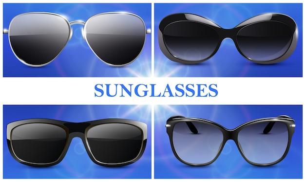 Realistische modische sonnenbrillenkomposition mit modernen brillen mit isolierten kunststoff- und metallfelgen Kostenlosen Vektoren