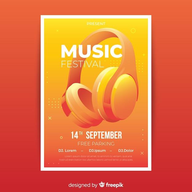 Realistische musikfestival-plakatschablone Kostenlosen Vektoren