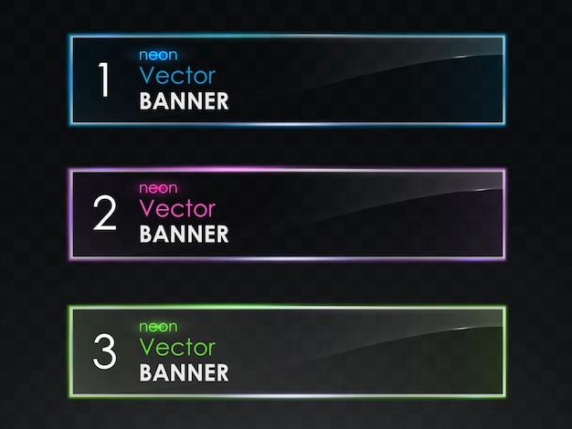 Realistische neonlicht horizontale banner vektor-set Kostenlosen Vektoren