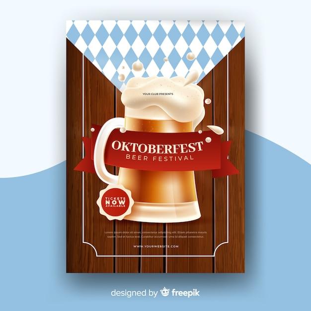 Realistische oktoberfest plakat vorlage Kostenlosen Vektoren