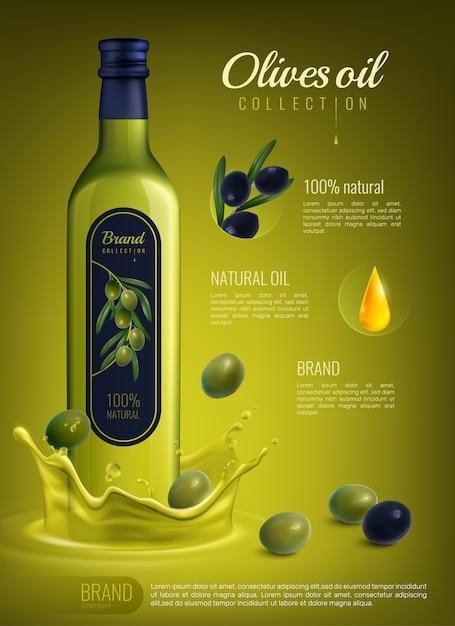 Realistische olivenölwerbungszusammensetzung Kostenlosen Vektoren