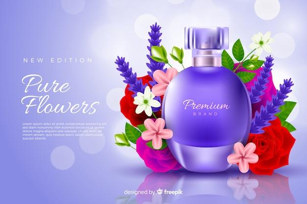 Realistische parfumwerbung mit blumen Kostenlosen Vektoren