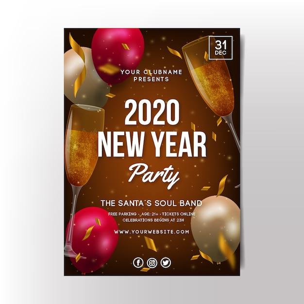 Realistische party-plakatschablone des neuen jahres 2020 Kostenlosen Vektoren