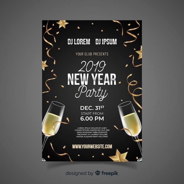 Realistische party plakatschablone des neuen jahres des champagners Kostenlosen Vektoren