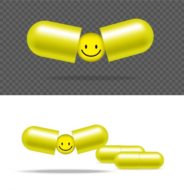 Realistische pillen-medizin-kapsel-platte mit lächeln auf weißem hintergrund Premium Vektoren