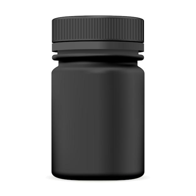 Realistische plastikflasche. 3d schwarzes pillenpaket. Premium Vektoren