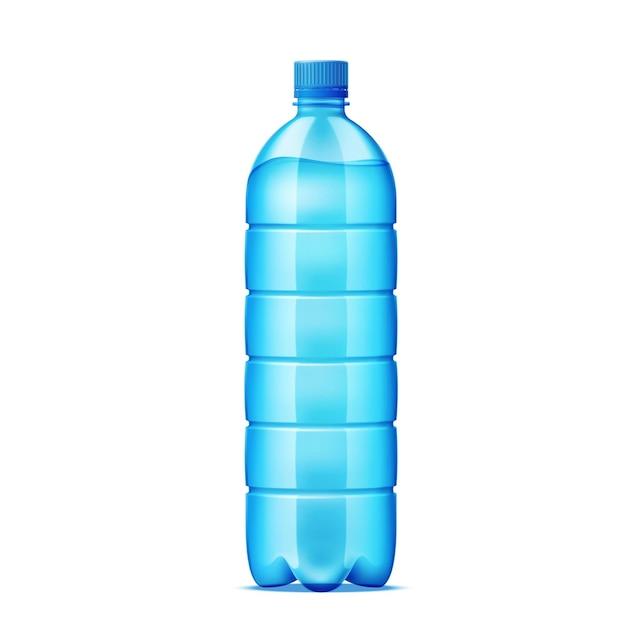 Realistische plastikflasche für wasserlieferungsdesign. recyclingbehälter für frische getränke. Premium Vektoren