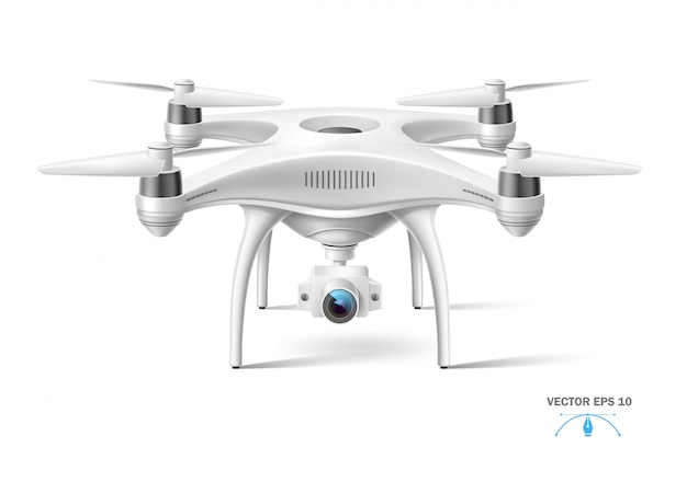 Realistische quad-copter-luftdrohne mit kamera weiß ohne markenzeichen. Premium Vektoren