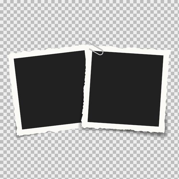 Realistische quadratische rahmenfotografie isoliert Premium Vektoren