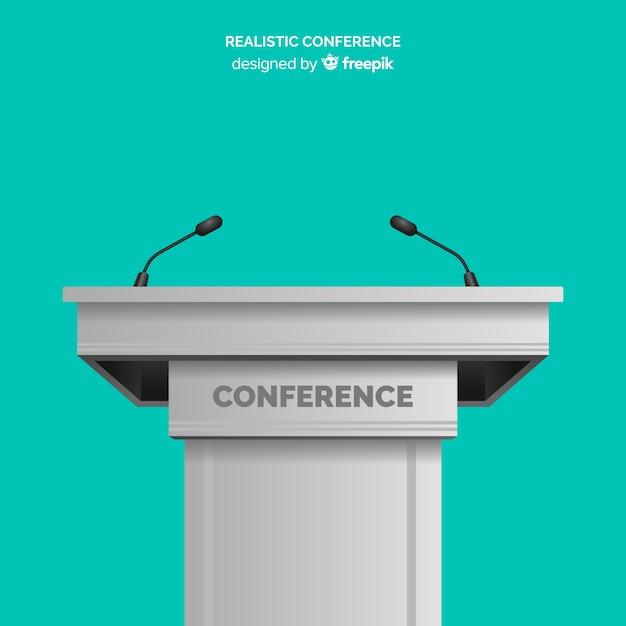Realistische rednerpultkonferenz mit mikrofon Kostenlosen Vektoren