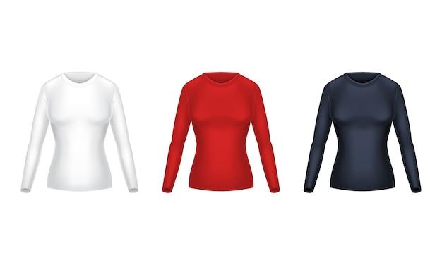 Realistische reihe von leeren shirts mit langen ärmeln, weibliche freizeitkleidung, warme sweatshirts Kostenlosen Vektoren