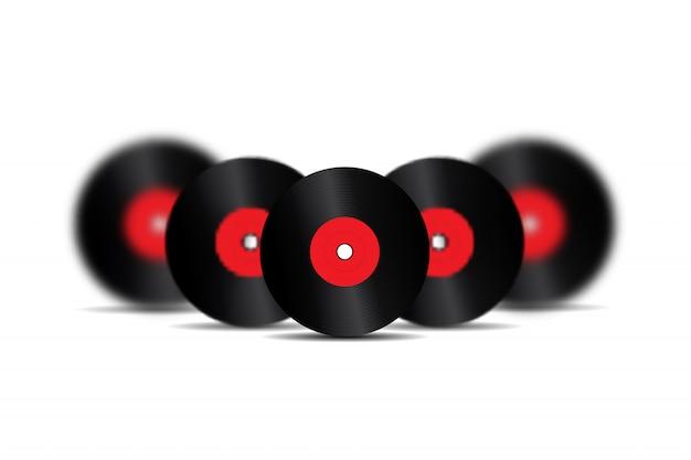 Realistische retro-schallplatten zur dekoration und abdeckung auf dem weißen hintergrund. konzept der vintage- und dj-musik. Premium Vektoren