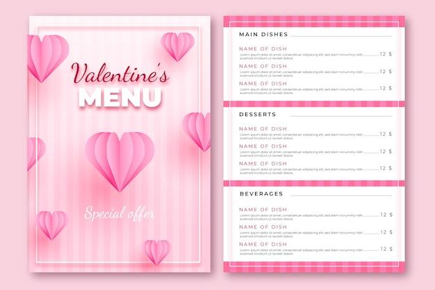 Realistische rosa valentinstagmenüschablone Kostenlosen Vektoren