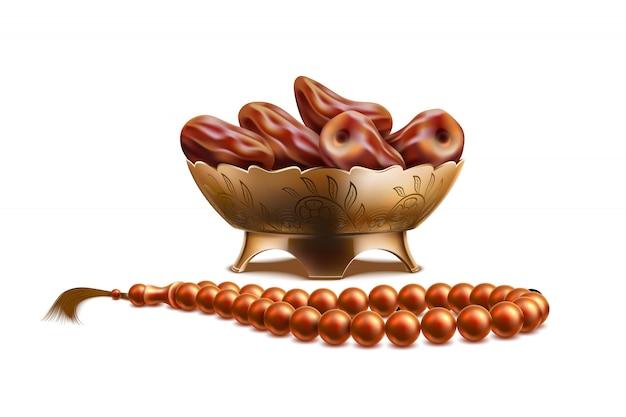 Realistische rosenkranzperlen, datteln ramadan symbole Premium Vektoren