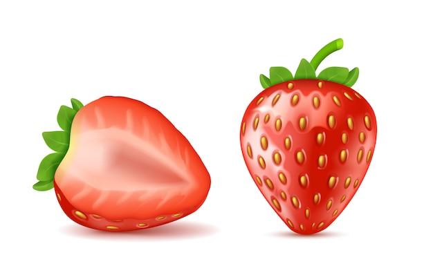 Realistische rote reife erdbeeren, ganz und halb isoliert auf hintergrund. Kostenlosen Vektoren