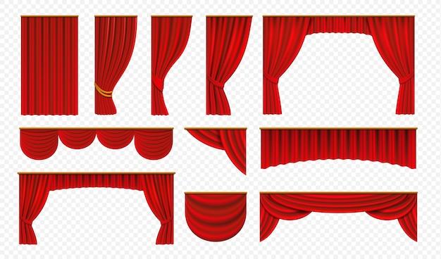 Realistische rote vorhänge. theaterbühnenvorhänge, luxuriöse hochzeitsdekoration, theatergrenzen Premium Vektoren