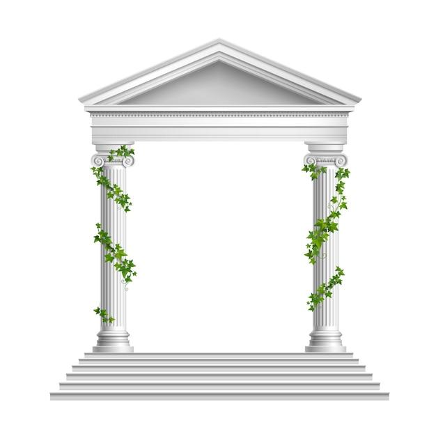 Realistische säulen verzierten grüne blätter mit dach und sockel mit treppenkomposition auf weiß Kostenlosen Vektoren