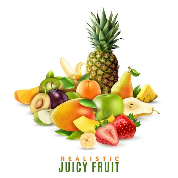 Realistische saftige frucht-illustration Kostenlosen Vektoren