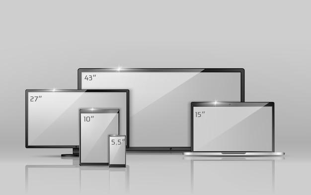 Realistische sammlung 3d verschiedene bildschirme - notizbuch, smartphone oder tablette. Kostenlosen Vektoren