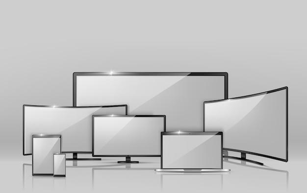 Realistische sammlung 3d verschiedener bildschirme Kostenlosen Vektoren