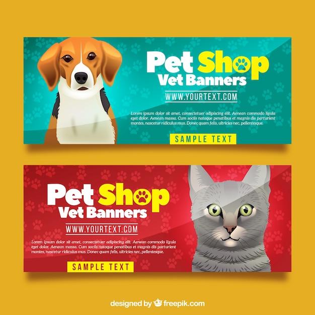 Realistische Sammlung von Banner mit Tieren Kostenlose Vektoren