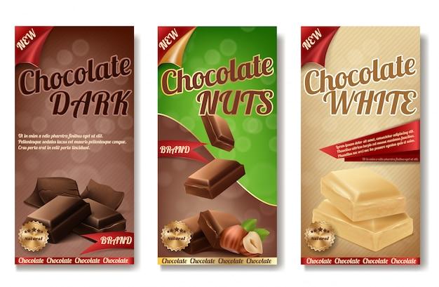 Realistische sammlung von schokoladenverpackungen. etiketten von leckeren produkten mit nüssen Kostenlosen Vektoren